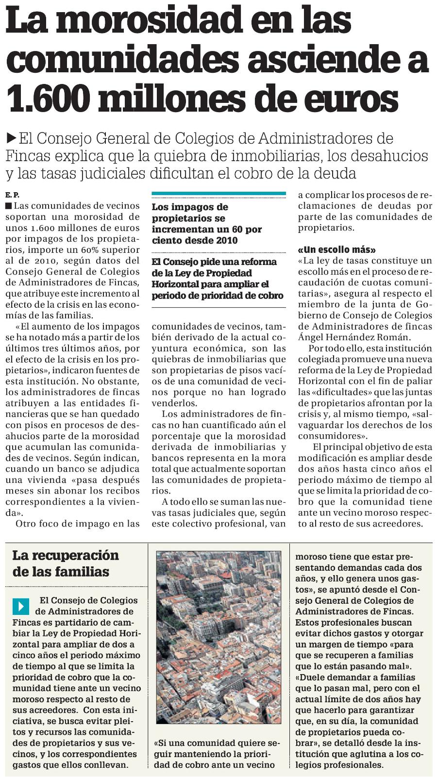 La morosidad en las comunidades asciende a 1600 millones de euros